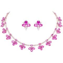 Ella Gafter Pink Sapphire Diamond Flower Necklace Earrings