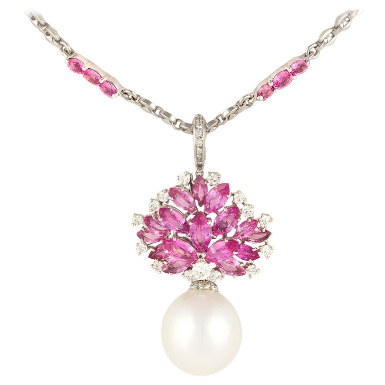 9b892918b0057 Ella Gafter Pink Sapphire Diamond Pendant Necklace with South Sea Pearl For  Sale
