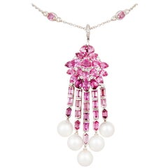 Ella Gafter Pink Sapphire Diamond Pendant Necklace with South Sea pearls