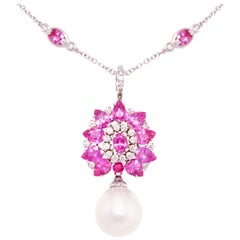Ella Gafter Pink Sapphire Pearl Diamond Necklace