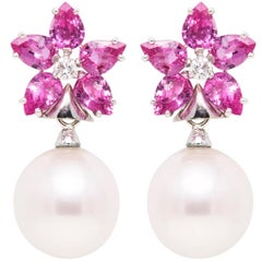 Ella Gafter Pink Sapphire South Sea Pearl and Diamond Gold Flower Drop Earrings
