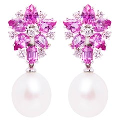 Ella Gafter Pink Sapphire South Sea Pearl Diamond Flower Clip-on Drop Earrings
