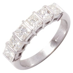 Ella Gafter Princess Cut Diamond White Gold Band Ring