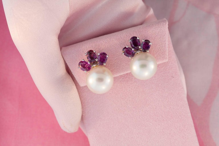Ella Gafter Purple Shire South Sea Pearl And Diamond Flower Clip On Earrings In As