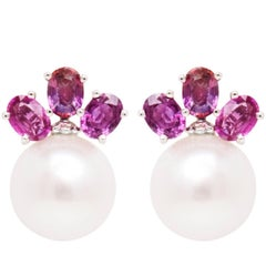 Ella Gafter Purple Sapphire South Sea Pearl and Diamond Flower Clip-On Earrings