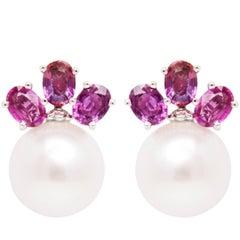 Ella Gafter Purple Sapphire South Sea Pearl Clip-On Earrings