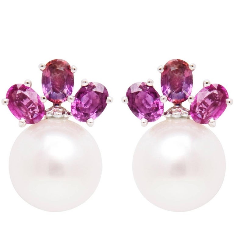 Ella Gafter Purple Shire South Sea Pearl Clip On Earrings For