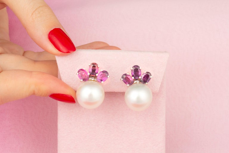 Artist Ella Gafter Purple Sapphire South Sea Pearl Clip-On Earrings For Sale