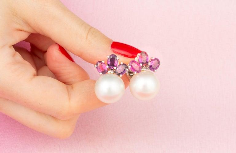 Women's Ella Gafter Purple Sapphire South Sea Pearl Clip-On Earrings For Sale