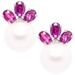 Ella Gafter Purple Sapphire South Sea Pearl Clip-On Earrings