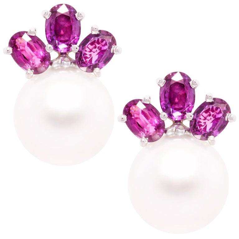 Ella Gafter Purple Sapphire South Sea Pearl Clip-On Earrings For Sale
