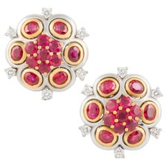 Ella Gafter Ruby and Diamond Clip-On Earrings Flower Design
