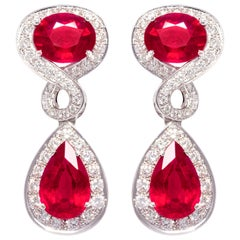 Ella Gafter Ruby and Diamond Drop Earrings