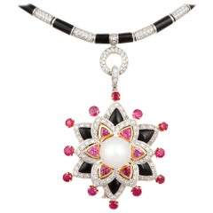 Ella Gafter Ruby and Diamond Pendant Necklace with Pearl and Onyx