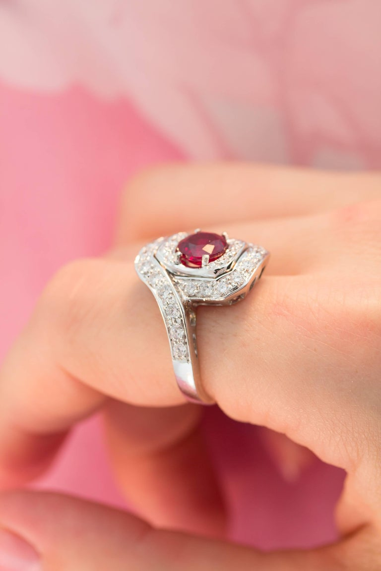 Women's Ella Gafter Ruby and Diamond Ring For Sale