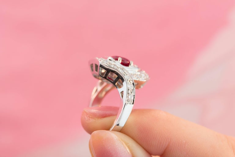 Ella Gafter Ruby and Diamond Ring For Sale 3
