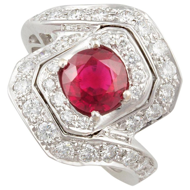 Ella Gafter Ruby and Diamond Ring For Sale