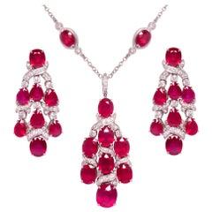 Ella Gafter Ruby Diamond Necklace Earrings Chandelier Set