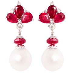 Ella Gafter Ruby Diamond Pearl Drop Earrings
