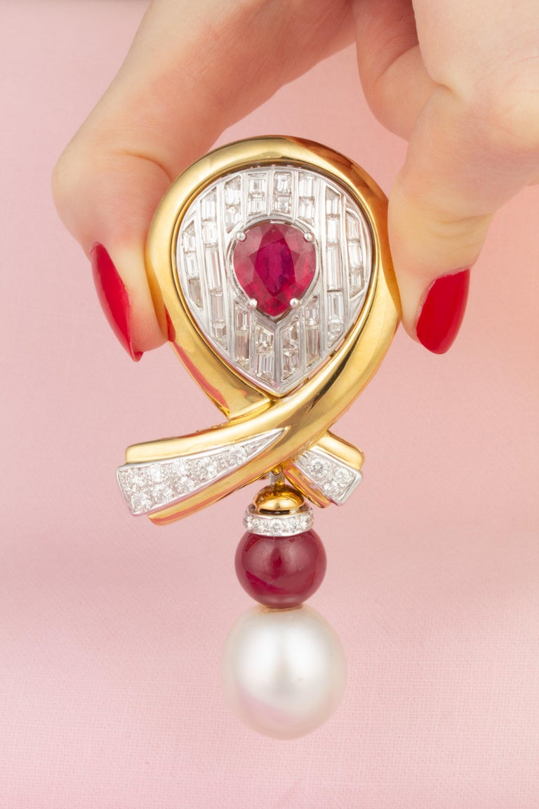 Baguette Cut Ella Gafter Ruby Pearl Diamond Bow Brooch Pin For Sale