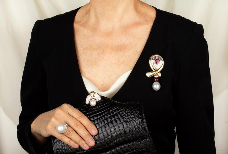 Artist Ella Gafter Ruby Pearl Diamond Bow Brooch Pin For Sale
