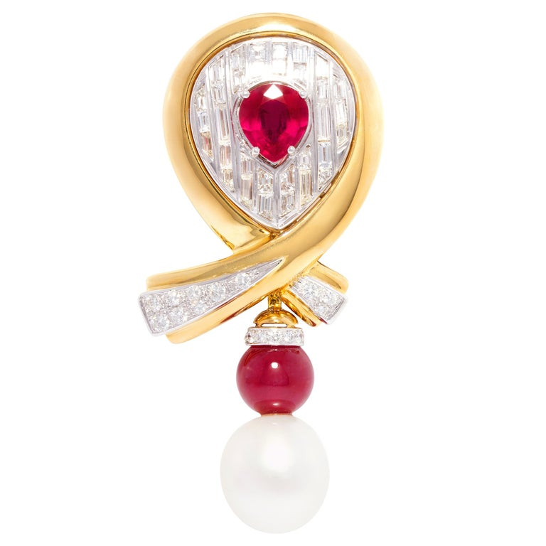 Ella Gafter Ruby Pearl Diamond Bow Brooch Pin For Sale