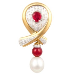 Ella Gafter Ruby Pearl Diamond Bow Brooch Pin