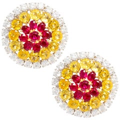 Ella Gafter Ruby Sapphire and Diamond Clip-On Earrings