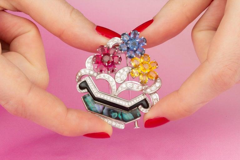 Brilliant Cut Ella Gafter Ruby Sapphire Basket Brooch For Sale