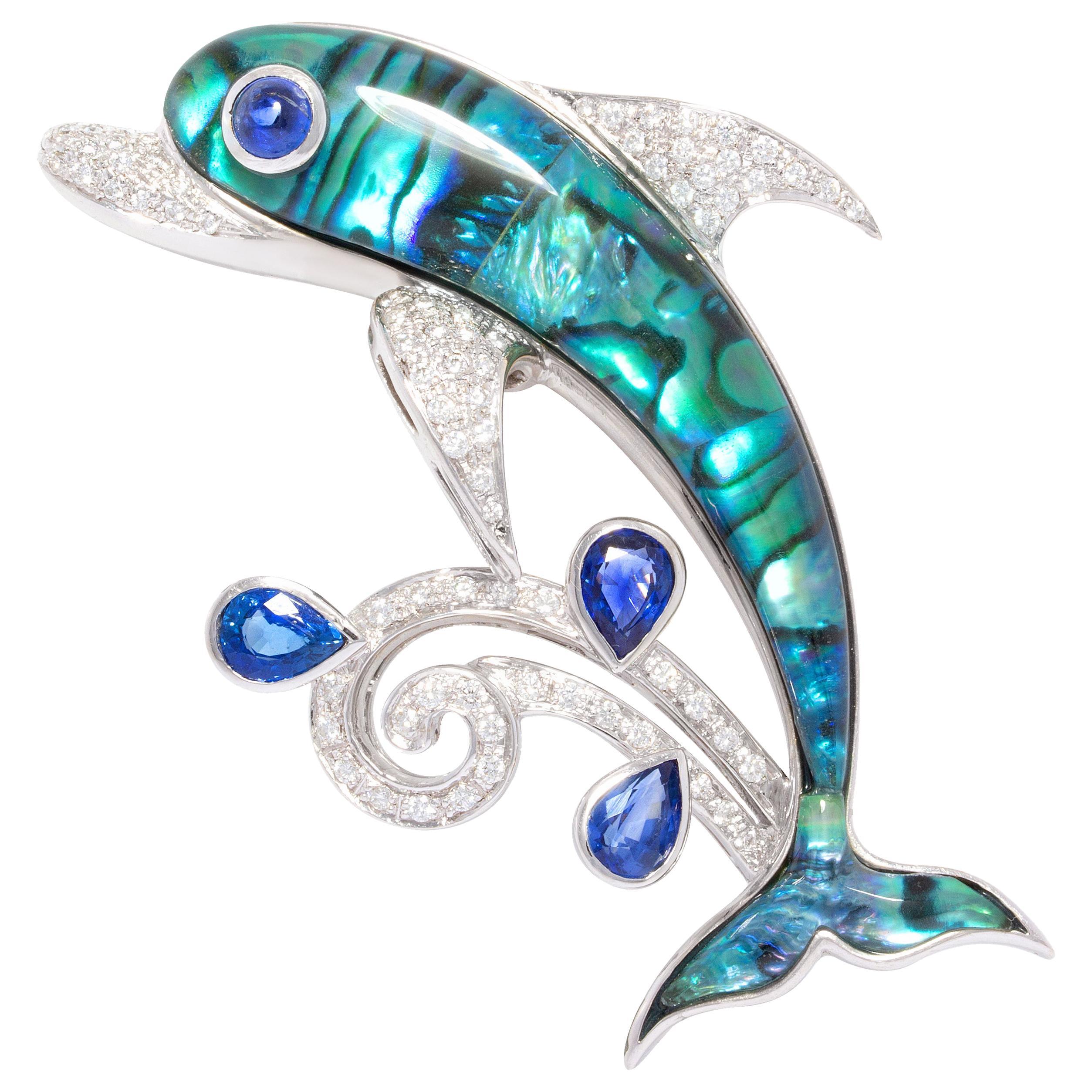 Ella Gafter Dolphin Sapphire Diamond Pin Brooch