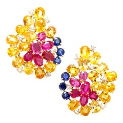 Ella Gafter Sapphire Cluster Earrings with Ruby and Diamond