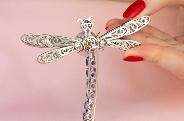 Ella Gafter Sapphire Diamond Pearl Dragonfly Brooch Pin For Sale 2