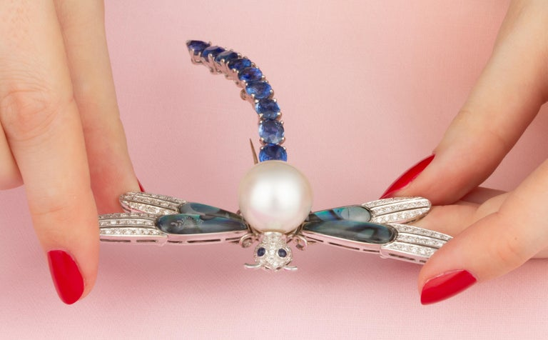 Ella Gafter Sapphire Diamond Pearl Dragonfly Brooch Pin For Sale 1