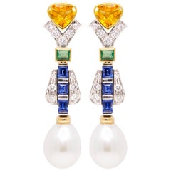 Ella Gafter Sapphire Diamond Pearl Drop Earrings
