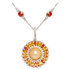 Ella Gafter Sapphire Diamond Pendant Necklace