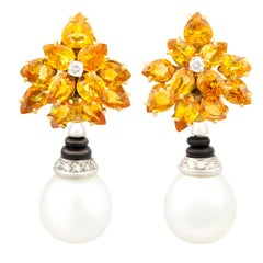 Ella Gafter Sapphire Diamond South Sea Pearl Earrings