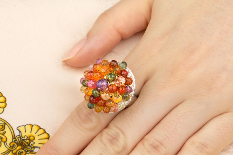 Ella Gafter Sapphire Diamond Tutti Frutti Ring In New Condition For Sale In New York, NY