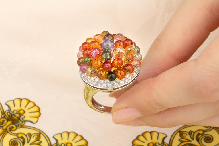 Ella Gafter Sapphire Diamond Tutti Frutti Ring For Sale 1