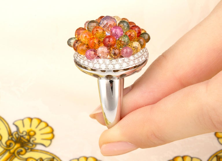 Ella Gafter Sapphire Diamond Tutti Frutti Ring For Sale 2
