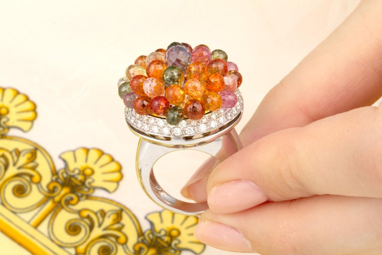 Ella Gafter Sapphire Diamond Tutti Frutti Ring For Sale 3