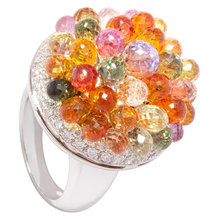 Ella Gafter Sapphire Diamond Tutti Frutti Ring For Sale