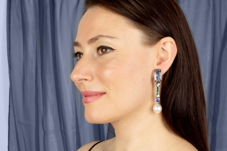 Artist Ella Gafter Sapphire Emerald Pearl Diamond Drop Earrings For Sale