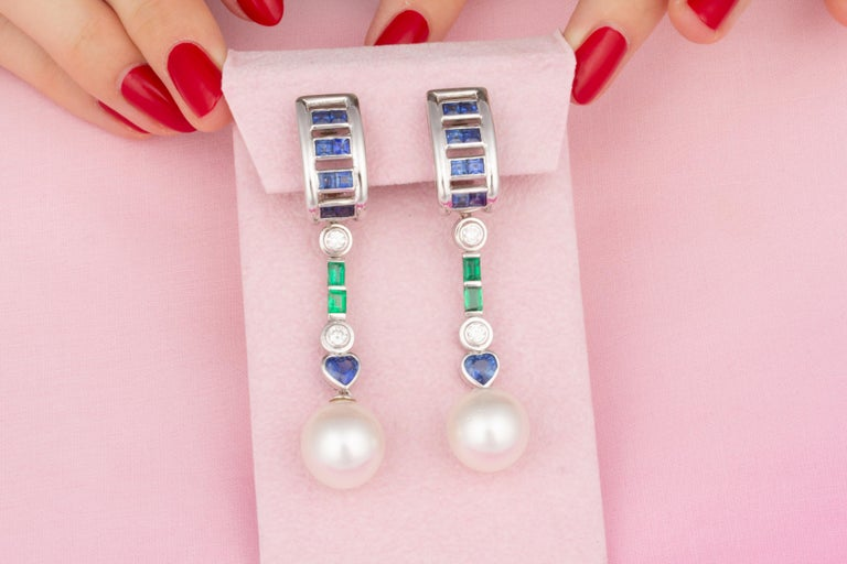 Ella Gafter Sapphire Emerald Pearl Diamond Drop Earrings In New Condition For Sale In New York, NY