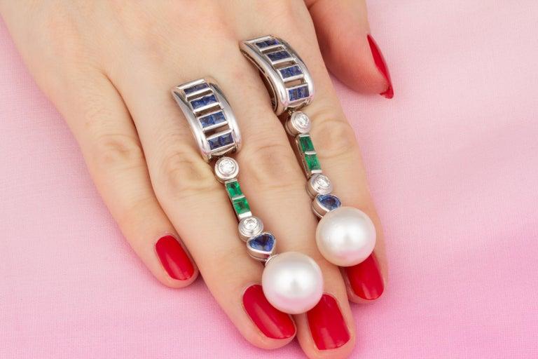 Women's Ella Gafter Sapphire Emerald Pearl Diamond Drop Earrings For Sale