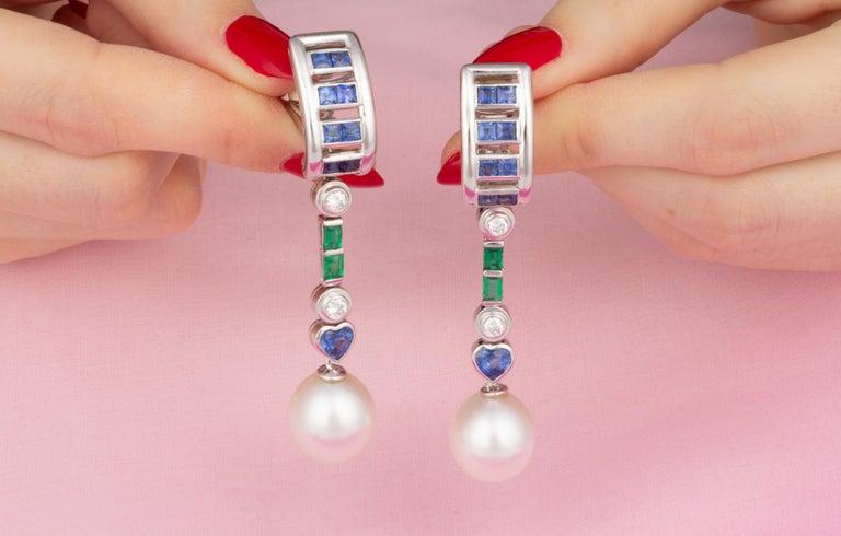 Ella Gafter Sapphire Emerald Pearl Diamond Drop Earrings For Sale 1