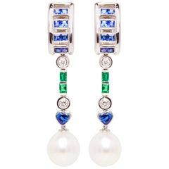 Ella Gafter Sapphire Emerald Pearl Diamond Drop Earrings