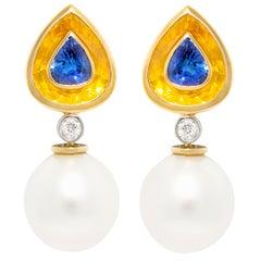 Ella Gafter Sapphire Pearl Diamond Earrings