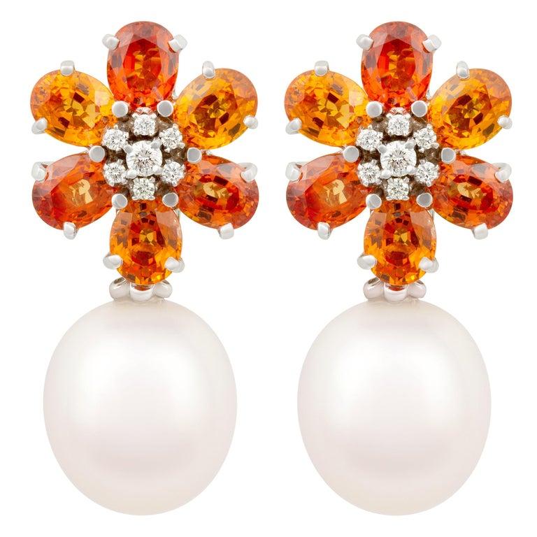 Ella Gafter Sapphire Pearl Diamond Earrings For Sale
