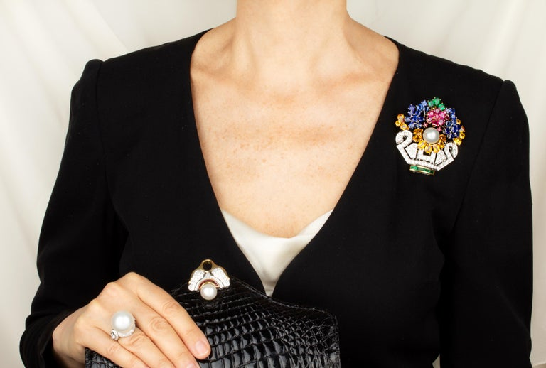 Artist Ella Gafter Sapphire Ruby Diamond Flower Basket Brooch Pin For Sale