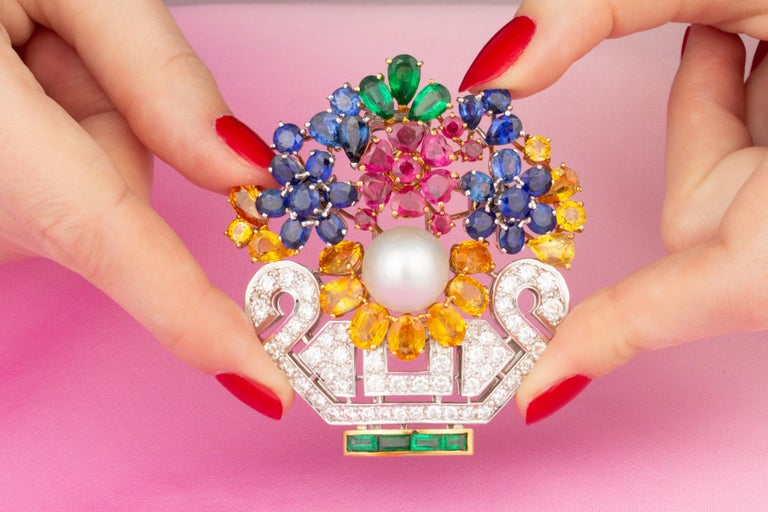 Ella Gafter Sapphire Ruby Diamond Flower Basket Brooch Pin In New Condition For Sale In New York, NY